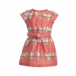 Vestito bimba - Georgina Dress in Pink Budgies