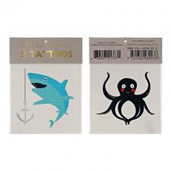 Tatuaggi temporanei, squalo e piovra