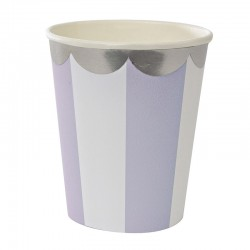 Bicchieri di carta a righe con smerlo argentato