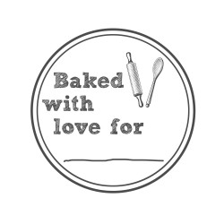 "Timbro ""Baked with love for"""