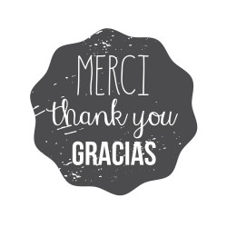 "Timbro ""Merci Thank you Gracias"""