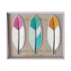 Spille colorate a forma di piuma