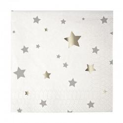 Tovagliolini di carta natalizi con stelline argentate