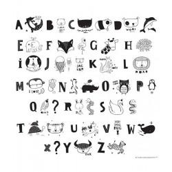 Alfabeto e animali in bianconero per lampada Lightbox