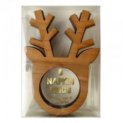Portatovaglioli natalizi in legno a forma di renna