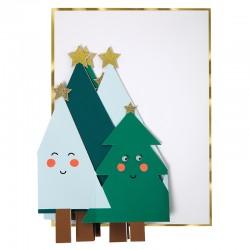 Biglietto di auguri con alberelli di Natale