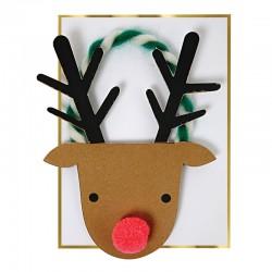 Biglietto di auguri natalizi a forma di renna