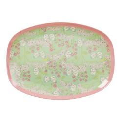 Piatto ovale con fantasia fiori e farfalle