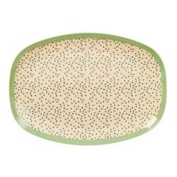 Piatto ovale con fantasia a puntini e pois