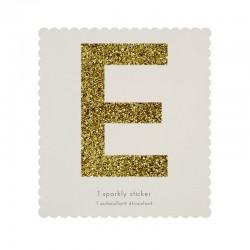 Lettera adesiva glitterata E