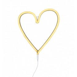 Lampada a LED neon style, cuore giallo