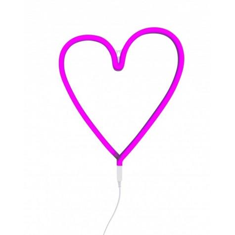 Lampada a LED neon style, cuore rosa