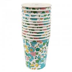 Bicchieri di carta con fantasia floreale Liberty