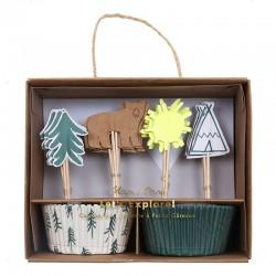 Pirottini e decorazioni per cupcake, fantasia camping
