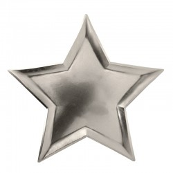 Piatti di carta a forma di stella d'argento