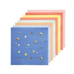 Tovagliolini di carta colorati con stelline dorate
