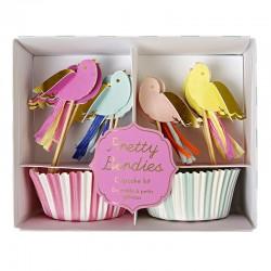 Uccellini decorativi per cupcake con pirottini a righe