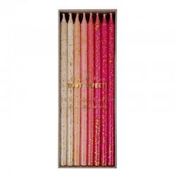 Candeline rosa con glitter dorato