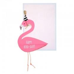 Biglietto Buon Compleanno con flamingo