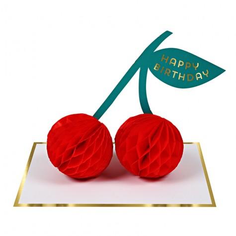 Biglietto Buon Compleanno con ciliegia