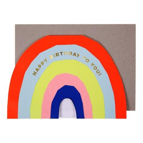 Biglietto Buon Compleanno con arcobaleno