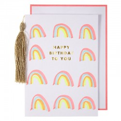 Biglietto Buon Compleanno con arcobaleni e nappa