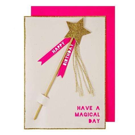 Biglietto Buon Compleanno con bacchetta magica