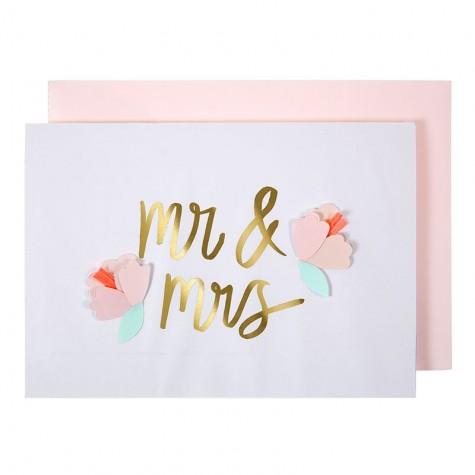 Biglietto Mr&Mrs con fiori