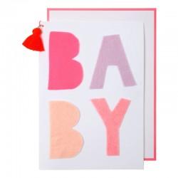 Biglietto per nascita bambina con scritta BABY