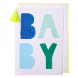Biglietto per nascita bambino con scritta BABY
