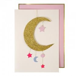 Biglietto per nascita bambina con luna
