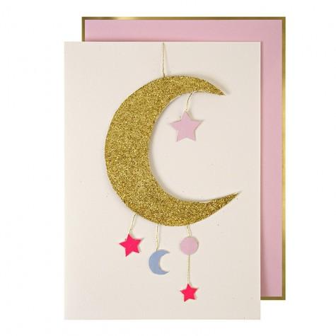 Biglietto nascita bambina con luna