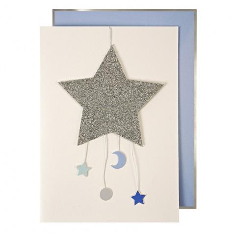 Biglietto nascita bambino con stella