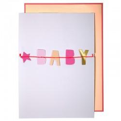 Biglietto per nascita bambina con ghirlanda BABY