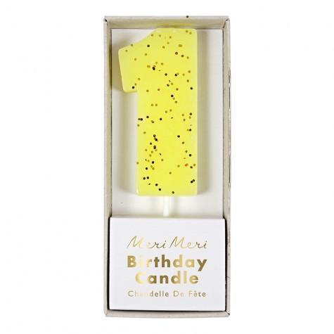 Candelina numero con glitter dorato - 1