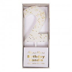 Candelina numero con glitter dorato - 2