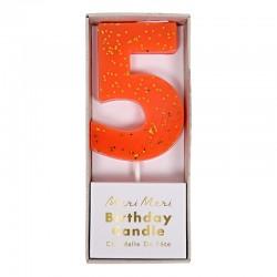 Candelina numero con glitter dorato - 5