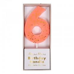 Candelina numero con glitter dorato - 6