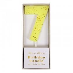 Candelina numero con glitter dorato - 7