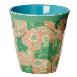 Bicchiere melamina con fantasia fiori e foglie