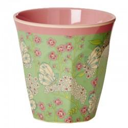 Bicchiere melamina con fantasia fiori e farfalle