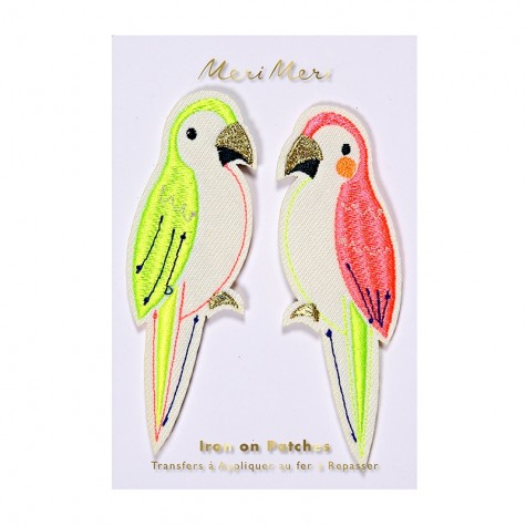 Toppa ricamata pappagalli