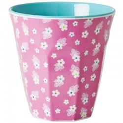 Bicchiere medio fantasia - rosa a fiorellini