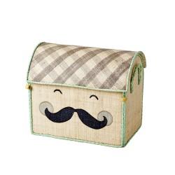 Contenitore porta giochi piccolo con faccina sorridente e baffi
